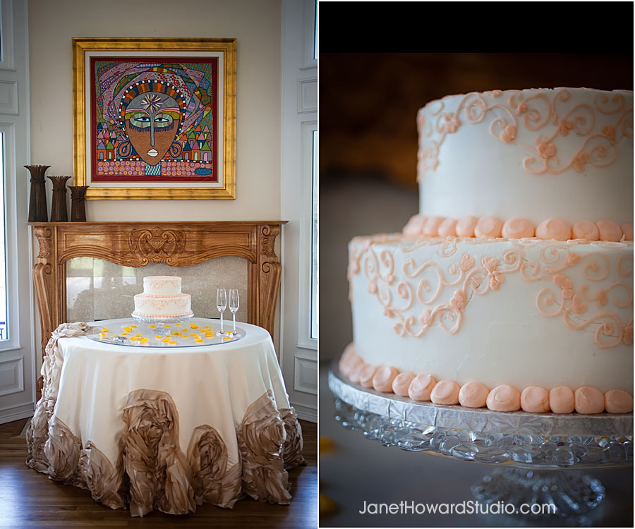 peach cake and decorative linen