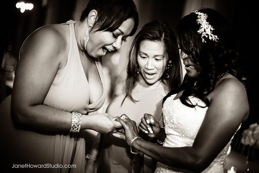 Admiring Bride's ring
