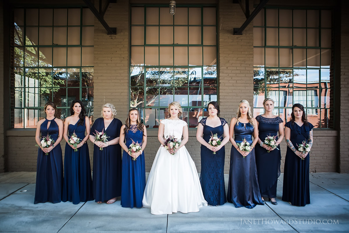 Bride and bridesmaids at The Foundry at Puritan Mill Wedding