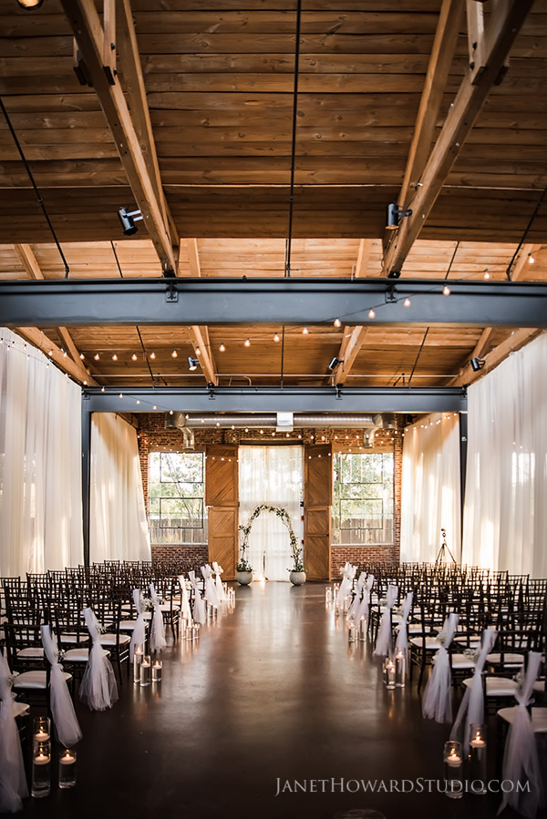 Wedding ceremony decor at The Foundry at Puritan Mill