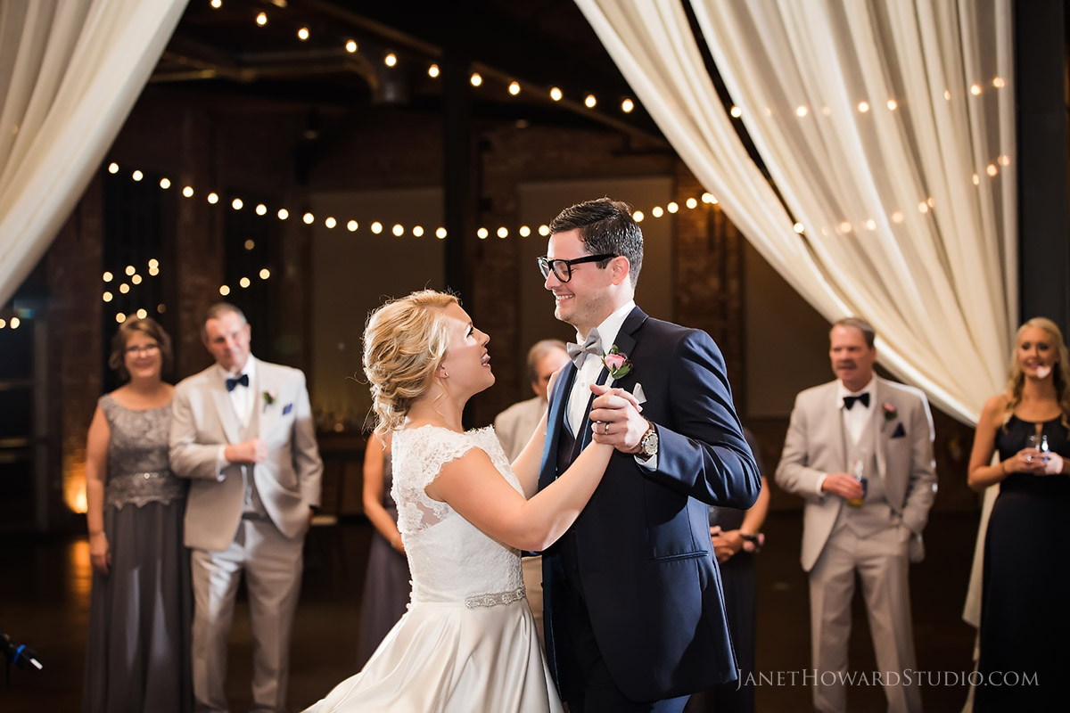 Bride and Groom first dance at The Foundry at Puritan Mill