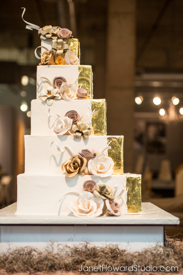 gold and white square wedding cakes gold scrolls squares sola flowers and paper flowers at 14742